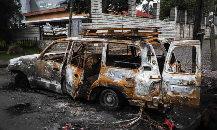 The remains of a car set on fire by a mob in Shashamane