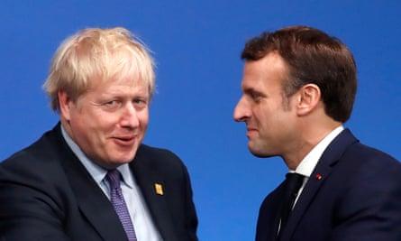 The British prime minister Boris Johnson and French president Emmanuel Macron