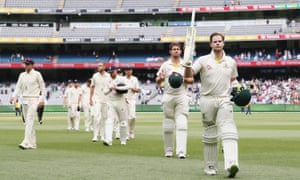 Steve Smith leads the sides off after his unbeaten century at the MCG took his tally for the series to 604.