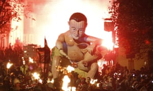 The giant sculpture of David Cameron and the pig's head. Lewes' Bonfire night celebrations have previously featured effigies of Muammar Gaddafi, Vladimir Putin and Kim Jong-un.