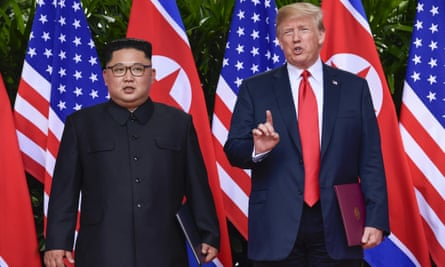 Donald Trump makes a statement before saying goodbye to Kim Jong-un in Singapore on 12 June.
