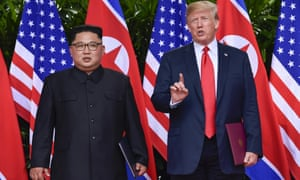 Kim Jong-un and Donald Trump in Singapore on 12 June.