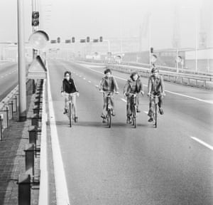 Cyclists on the motorway