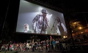 Gord Downie appears on a big screen in Halifax, Nova Scotia