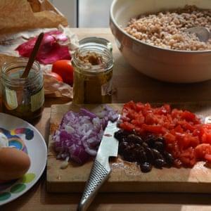 Summer salad of farro, eggs, tuna and capers.
