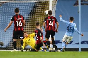 Phil Foden scores Manchester City's second.