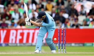 England's Ben Stokes is bowled round his legs by Dawlat Zadran.