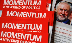 Momentum posters at the Labour party conference in September 2016.