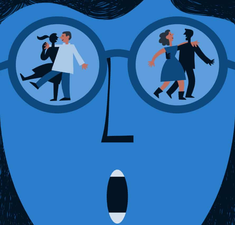 Illustration of blue face with two different couples behind a pair of glasses, walking in opposite directions