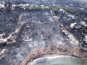 Mati, Greece: An aerial view of a scorched area after a wildfire