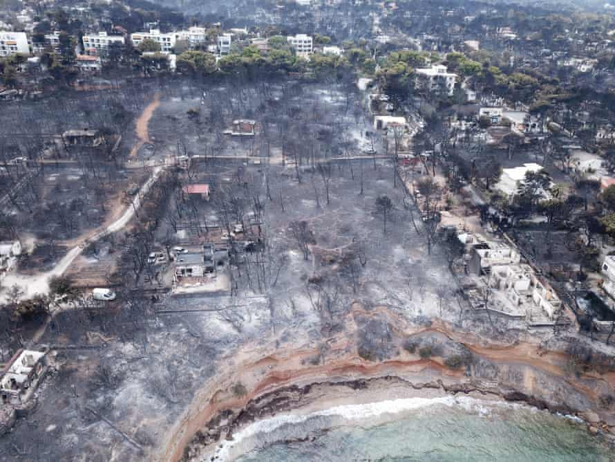 Aerial view of the area after a wildfire, in Mati, Greece, July 2018