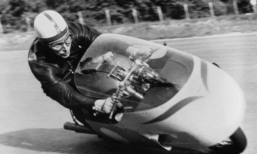John Surtees practising on the Monza track, near Milan, in 1957.