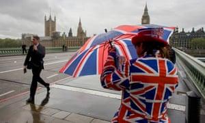 Wet weather on Westminster Bridge, London