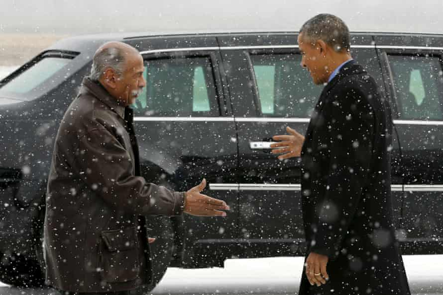 Conyers greets President Obama in Detroit in 2016.