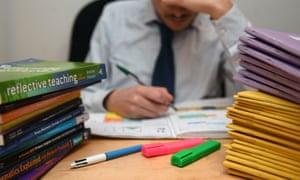 A teacher sitting at a desk behind a pile of marking.