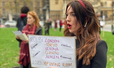 One voice … opera singers including Monica McGhee, right, protest outside Parliament in October about SEISS.