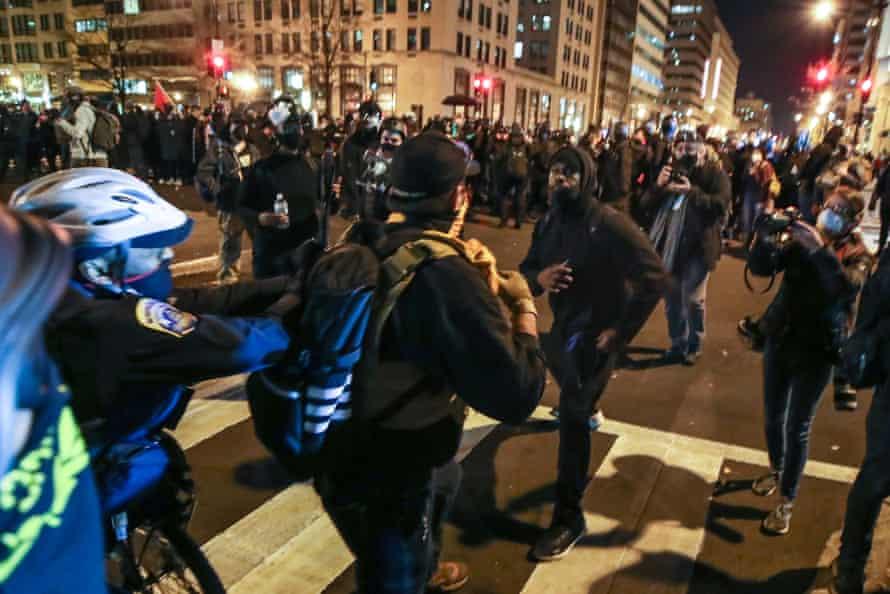 Proud Boys and Antifa activists square up in Washington.