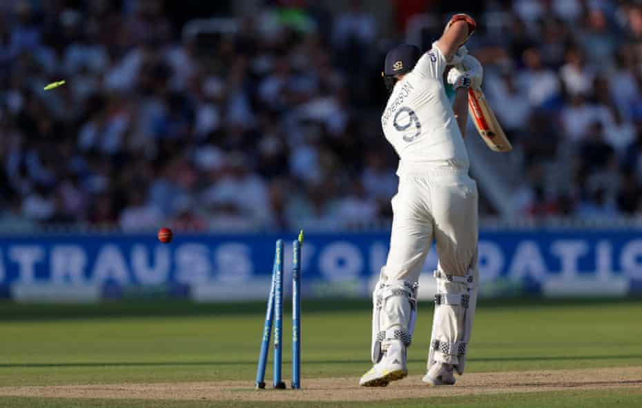 Jimmy Anderson is bowled at Lord's