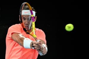 Rafael Nadal on his way to taking the first set.