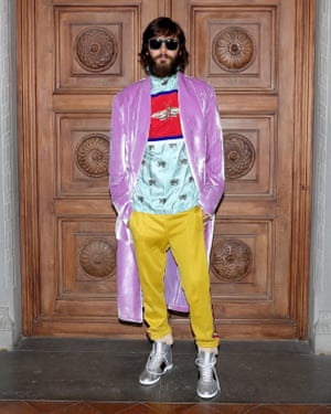 Jared Leto matching the carpet at Gucci's cruise show.