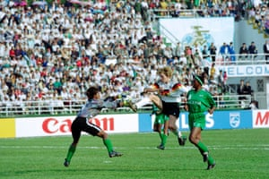 The Nigeria goalkeeper Oyeka Anna Agumanu and the defender Omon-Love Branch combine to thwart Germany's Heidi Mohr, who still scored twice in a 4-0 win.