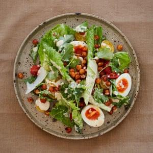 A caesar-style salad of crispy harissa chickpeas.