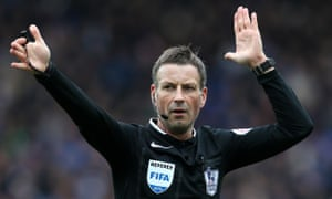 Referee Mark Clattenburg says no penalty for Arsenal.