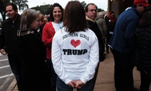 "A Trump supporter in a ""Southern Girls <3 Trump"" shirt waits to hear the president speak in Biloxi, Mississippi on 2 January, 2016."