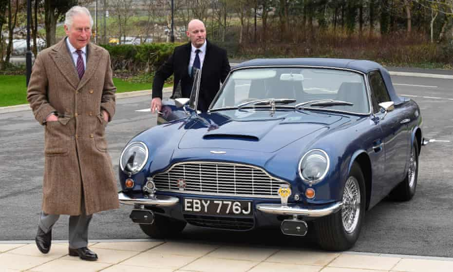 Prince Charles is seen with his Aston Martin DB6, during his visit to the new Aston Martin Lagonda factory in February 2020, in Barry, Wales.