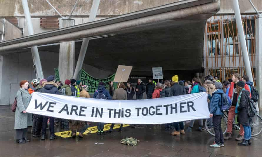 Climate protesters at the Scottish parliament.