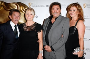 Barry and Paul Elliot with their partners at the British Academy Children's Awards at the Park Lane Hilton, 2008