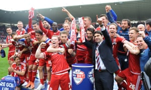 Middlesbrough players and manager Aitor Karanka celebrate after earning promotion to the Premier League. Will this be your club this season?