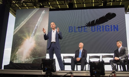 Amazon and Blue Origin founder Jeff Bezos announces plans to build a rocket manufacturing plant and launch site at Cape Canavera.