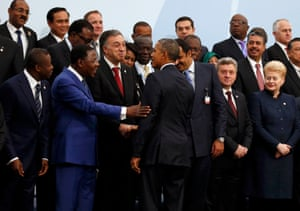 US president Barack Obama arrives for a 'family photo' with other world leaders
