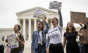 Protesters outside the supreme court on Saturday. The almost-certain passage of Kavanaugh's nomination will cap a triumphant week for the president.