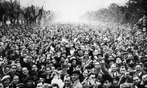 Madrid 1936 Thousands of Republicans demonstrate in the streets against Franco's attempt to overthrow the Spanish Republic