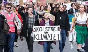 Greta Thunberg with Belgian students in Brussels