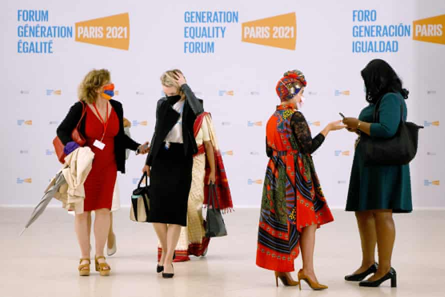 Participants arrive at the Generation Equality Forum, an international event organised by UN Women and co-hosted by the governments of Mexico and France in Paris.