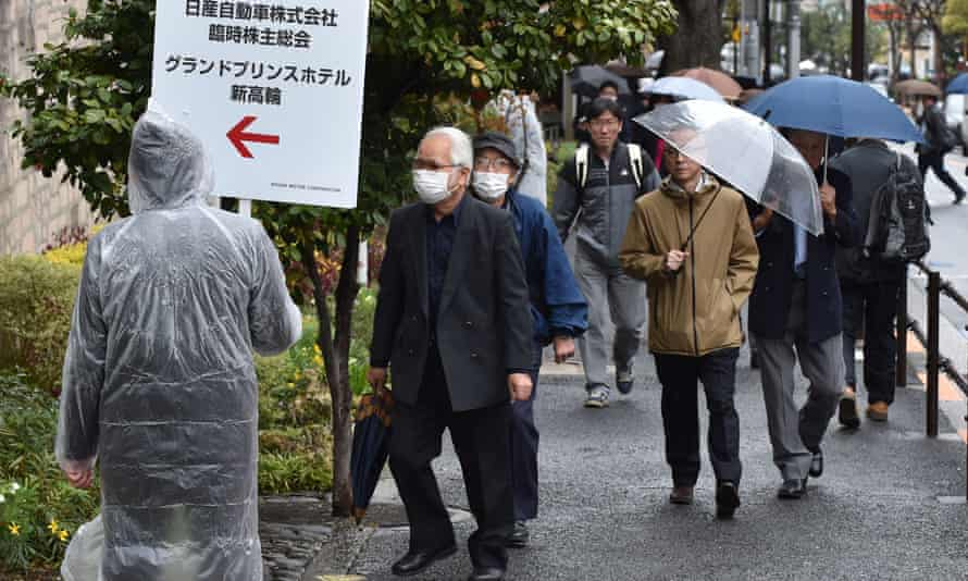 Shareholders arrive ahead of Nissan's extraordinary shareholders' meeting in Tokyo