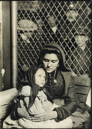 Mother and child, Ellis Island (Italian Madonna), circa 1907 Hine's Ellis Island photographs are often praised for maintaining the integrity of his subjects, shooting them as individuals without exoticizing their pilgrimage