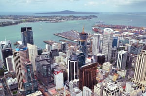 An aerial view of downtown Auckland, New Zealand.