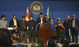 The Bolivian president, Evo Morales, makes a speech at the presidential hangar in El Alto on Sunday