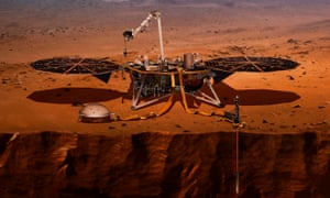 Illustration showing InSight at work on Mars
