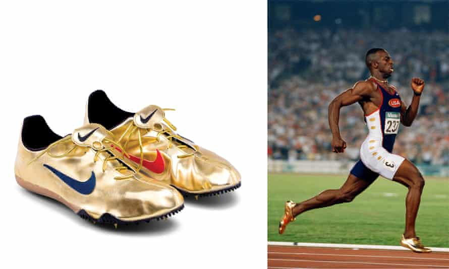 Michael Johnson at the 1996 Olympics and his gold Nike Zytels.