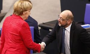 Angela Merkel with Martin Schulz, leader of the SPD.