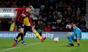 Bournemouth's Sam Surridge slots the ball home.
