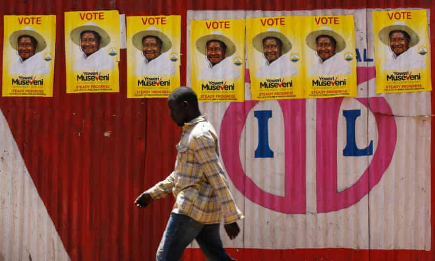 'Vote Museveni' campaign posters are displayed in Kisugu village, Kampala.