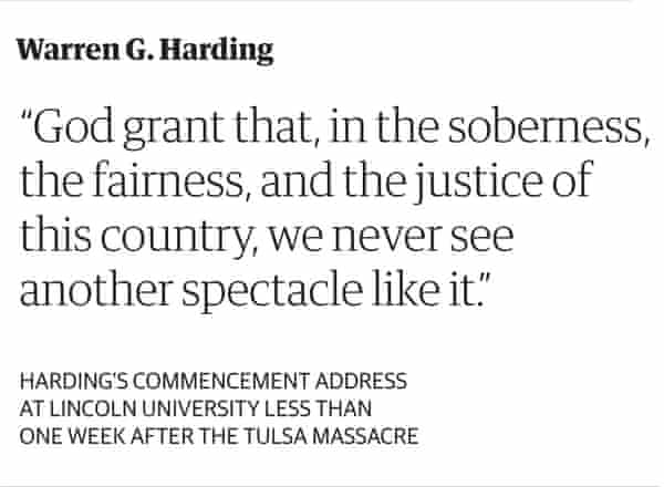 """""""God grant that, in the soberness, the fairness, and the justice of this country, we never see another spectacle like it."""" –Warren G. Harding"""