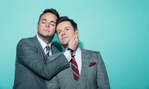 Entertainers Ant (on left) and Dec, heads together
