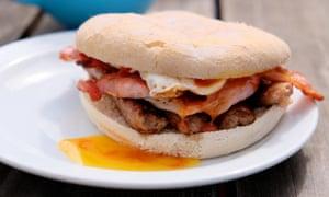 Bacon, egg and sausage bap